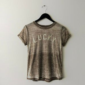 Lucky Brand & Co Burnout Graphic Tee Shirt Print L